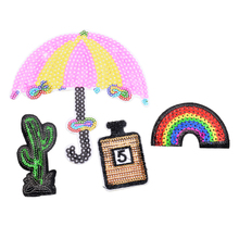 FUNIQUE 3PCs/Set Rainbow Iron-On Transfers Stripes For Clothes Patches Embroidered Applications Sewing Fabric Sequin Appliques