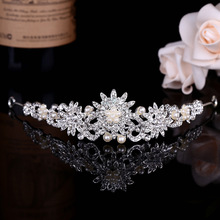 Crystal Tiara Crown Hair Accessories Kid Girl pearl Flower Children hair jewelry Silver Color Wedding Decoration T-710 - CAFINE Factory Directly Store store