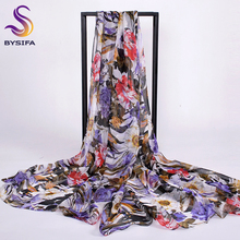 BYSIFA New Daisy Chiffon Silk Scarf Shawl For Spring Autumn 2016 Winter New Ladies Mulberry Silk Purple Scarves Wraps 200*110cm(China)