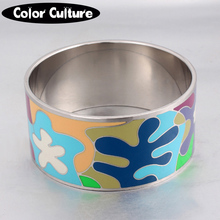 2017 Vintage Ethnic Colorful Enamel Wide Bracelets for Women Colorful Stainless Steel Big Bangles(China)