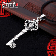 New unisex jewelry Beier 925 silver sterling retro key pendant necklace black gem free give rope  A1204