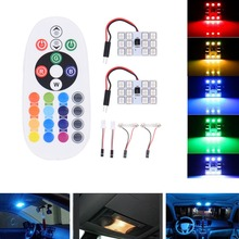 5050 12SMD 16 light board Remote Control Car Interior car styling LED Light RGB Dome Reading Flashing Light bulb lamp universal