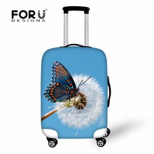 FORUDESIGNS Funny 3D Butterfly Waterproof Luggage Cover Elastic Stretch Suitcase Protective Covers For 18-30 Inch Trolley Cases