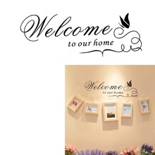 welcome to our home quotes wall stickers living bed room decoration 8181. diy vinyl adesivo de parede house decals mural art 4.0(China)