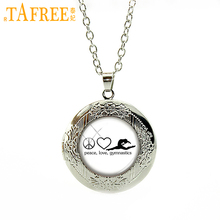 TAFREE Peace Love Gymnastics Necklace Combine three sources Stock Vector locket for women round glass novelty jewelry SP106(China)
