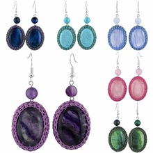 SUNYIK Handmade Crochet Oval Stone Dangle Earrings for Women(China)