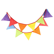 New 12 Flags - 3.2M Cotton Fabric Banners candy colour Bunting Decor children camping bunting birthday photo garland