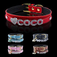 Personalized Dog Collar Inner Padded Customized Leather Puppy Cat Collars With Rhinestone Pendant Free Name & Charm XS S M(China)
