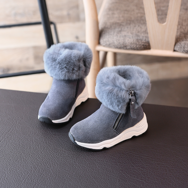 Super Quality Nice Christmas Boots For Child Fur Fashion Zippers Shoes Toddler Size fit little big Kids Winter Shoe Brown Grey<br>