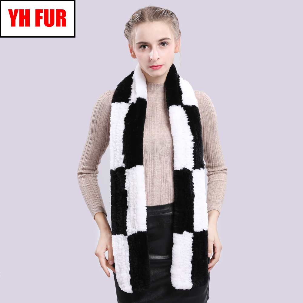 2019 Real Rex Rabbit Fur Shawl Scarves Women Quality Rex Rabbit Fur Scarf Warm Soft Fluffy Knitted Natural Real Fur Ring Scarfs