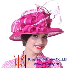 Kueeni Women Hats Feather Fashion Lady Party Wedding Dress Wear Sinamay Hats Rose Red Color  Elegant Lady Church Party Fedoras