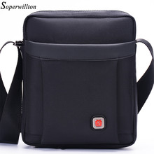 Soperwillton Men's Bag Brand 2017 Flap Shoulder Bag Bolsas Real Shot Crossbody Messenger Bag Ruched Black Male Oxford Bag #1060(China)