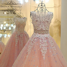 High Quality Russia Cap Sleeve Lace Appliqued Beads See Through Back Luxury Wedding Dress Pink
