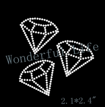 Free shipping three diamonds shining and bling for USA white clear crystal Iron On Rhinestone Crystal Transfer Hotfix image(China)