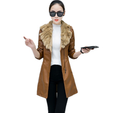 Black Brown Leather Jacket Women Winter Warm Outerwear Faux Sheepskin Coat Fur Collar Thick Shearling Jacket Outwear(China)