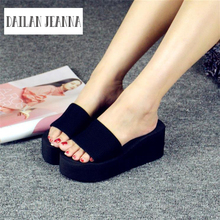 European new summer beach slippers and Korean ladies sandals, high heeled slippers(China)
