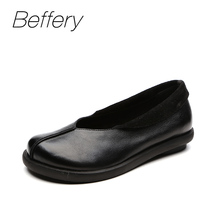 Beffery 2018 Spring Summer style Genuine Leather Flat Shoes Women Retro Round toe Ultra-soft Casual Shoes A121020(China)