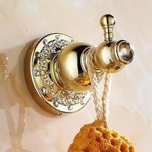 New Luxury Crystal & Brass Golden Bathroom Crystal Robe Hook,Clothes Hook,Solid  Bath Hardware Accessory Home Decoration 6206