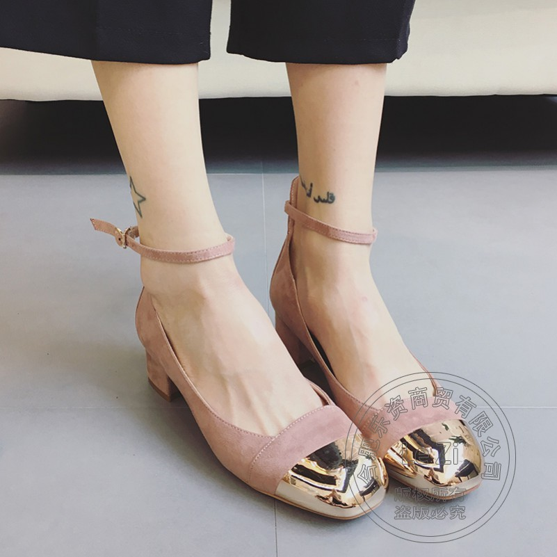 Graceful Solid Color Soft Leather Ankle Strap Puppy Heel Metal Head Brand Shoes Women Flat Shoes Women Young Girl Frosted<br><br>Aliexpress
