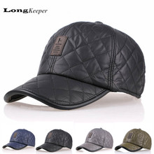 LongKeeper Winter Baseball Caps Leather Golf Cap Men Leisure Thickened Hats With Ear Flap Gorras Black Gray Casquette Bone AA1
