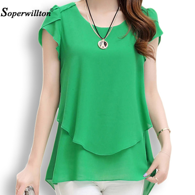 Soperwillton 2018 New Summer Women Blouse Loose Shirt O-Neck Chiffon Blouse Female Short Sleeve Blouse Plus Size 5XL Shirts Tops(China)