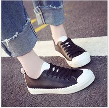 Women canvas shoes Low help Flat with Lace-up leisure student shoes Female Candy Color Women Shoes board Shoes Women size 35-40