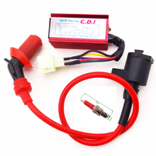 Knight Racing Ignition Coil GY6+ A7TC Spark Plug + AC CDI 6 Pins AC CDI Box For Chinese GY6 50cc 125cc 150cc Engine ATV Quad(China)