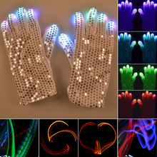 1 pair LED Gloves Rave Finger Lighting Flashing Concert Stage Cosplay Glow Mittens Rave Luminous Party Nice Gloves Gift A35