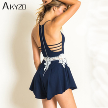 Buy AKYZO Sexy Hollow Embroidery Romper Women Beach Jumpsuit Summer High Waist Ladies Elegant Backless Solid Halter Playsuit