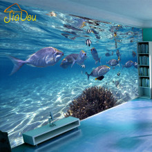 Custom Photo Wallpaper 3D Stereoscopic Underwater World Of Marine Fish Living Children's Room TV Background 3D Mural Wallpaper(China)