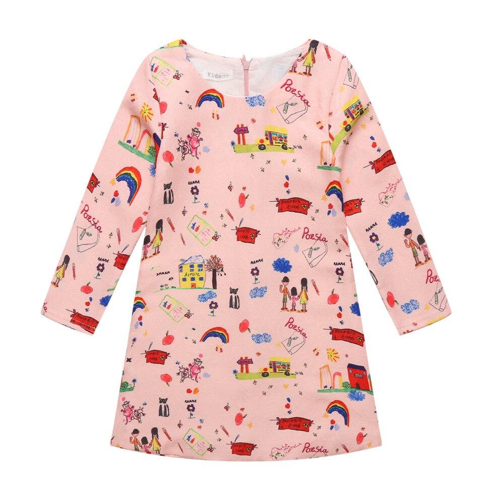 2017 Spring teenage girls dress Kids clothes printing Dress Long Sleeve Princess Dress Children girl pink Wedding Dress for 3-10<br><br>Aliexpress