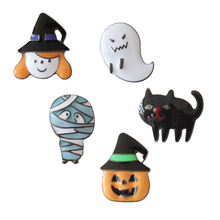 free shipping wholesale 5 pcs/ lot metal enamel Halloween series ghost cat pumpkin badge brooch collar pin(China)