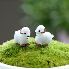 2Pcs Cute Mini Kawaii Cabochons Sheep Goat Resin Figurines Miniature Animal Micro Landscape Fairy Garden Terrarium Accessories(China)