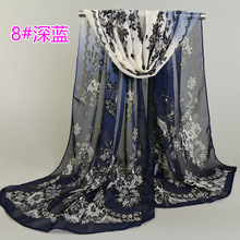 Hot Sale Fashion scarves Women Silk scarf Beach Shawl and Echarpe Wrap Designer Lace Print 10 colors Hijabs