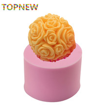 3D Rose Big Flower Ball Silicone soap Mould Candle Mold Silicone Cake decorating tools wedding part DIY Baking tools C3077(China)