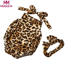 New Baby romper infant Kids Baby Girl Boy Leopard Romper Jumpsuit +Headband 2PC Set Clothes(China)