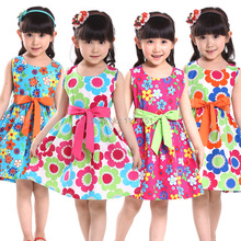 Shybobbi New summer kids clothes floral bow 100% cotton child party princess tank girl dress sundress size 4-14 Free Shipping(China)