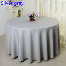 Silver grey colour wedding table cover table cloth polyester table linen hotel banquet party round tables decoration wholesale