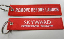 Remove Before Launche Skyward Experimental Rocketry Fabric Embroidery Pilot Key Chains
