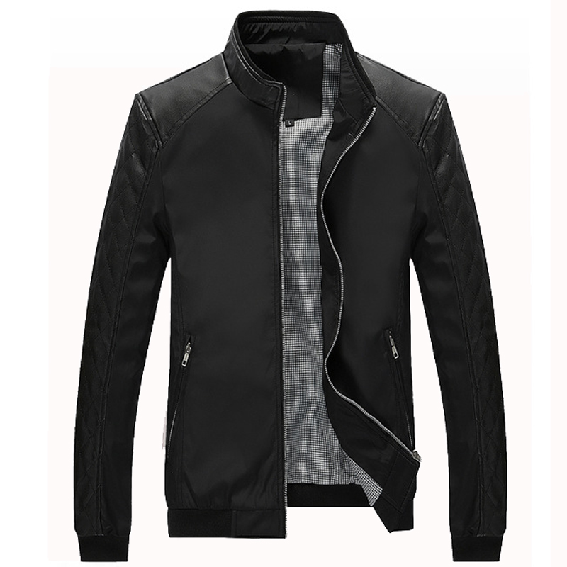 2019 Spring New Design Youth Jacket Men Thin Slim PU Leather Stitching Casual Men Jacket Fashion Veste Homme MWJ2339