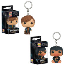 In Stock Funko POP Fantastic Beasts and Where to Find Them Newt Niffler keychain Pocket Keychain Keyring Hangers small Figure