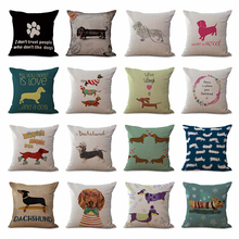 "Square 18"" Cotton Linen Cute Dachshund Dogs Office Chair Back Waist Cushion Cover Fashion Couch Seat Pillow Case N0118(China)"