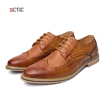 2017 New Arrival Vintage Retro Leather Men Dress Shoes Business Formal Brogue Pointed Toe Carved Oxfords Wedding Shoes(China)