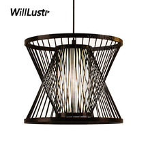 willlustr bamboo pendant lamp wood suspension light post modern designer zen hanging lighting pastoral hotel restaurant nordic(China)