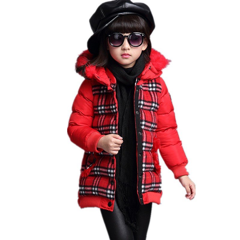 Winter Jacket  for Girls Outerwear Cotton Plaid Children Coats Teens Girl Clothes 2017 Fashion Hooded Parkas 3 4 6 8 10 12 YearsОдежда и ак�е��уары<br><br><br>Aliexpress