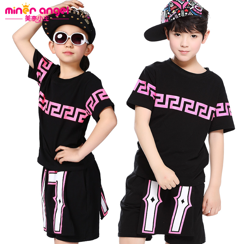 2016 spring children set Boy Girl Costumes Pants unisex Culottes &amp; Geometric Hip Hop dance T-shirt kids  suits twinset<br>