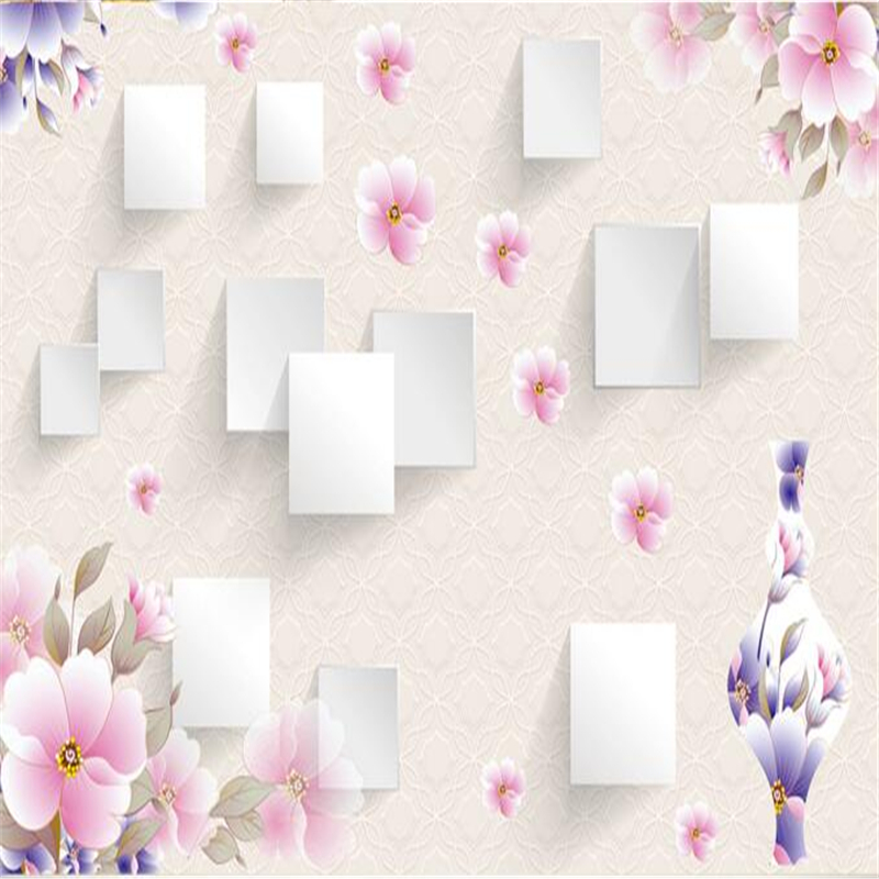 3 d wallpaper three-dimensional square flower vases, TV setting wall paper family decorates sitting room bedroom wallpaper photo<br><br>Aliexpress