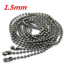 "2016 New 20 Strand Gunmetal Ball Beads Chain Necklace 1.5mm Bead Connector Fashion Jewelry Findings Making DIY 70cm(27"")"