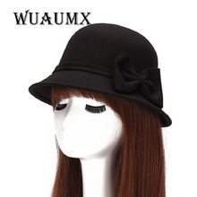 [Wuaumx] Fall Winter Bucket Fedoras Hat Women'S Hat Dome Cloche Bowknot Top Hat For Lady Girl Floppy Cartola Female Bowler Cap(China)