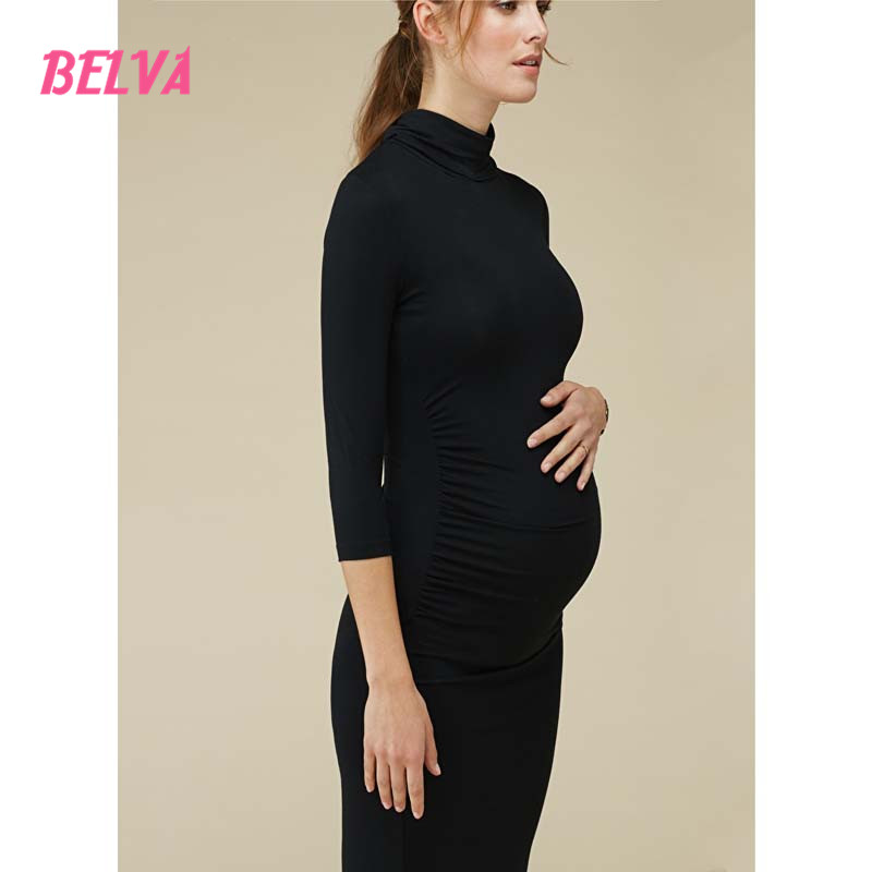 Belva Turtleneck maternity dress Cute pregnant dress Three Quarter Sleeve maternity photography props breastfeeding dress DR348<br>
